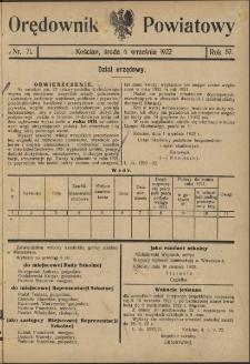 Orędownik Powiatowy (Kościan) 1922.09.06 R.57 Nr 71