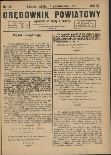Orędownik Powiatowy (Kościan) 1922.10.14 R.57 Nr 82