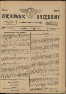 Orędownik Urzędowy Powiatu Kościańskiego 1923.02.21 R.58 Nr 8