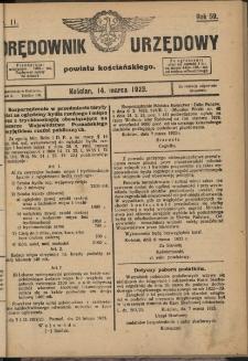 Orędownik Urzędowy Powiatu Kościańskiego) 1923.03.14 R.58 Nr11