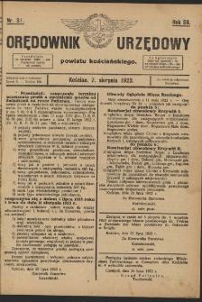 Orędownik Urzędowy Powiatu Kościańskiego 1923.08.02 R.58 Nr 31