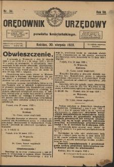 Orędownik Urzędowy Powiatu Kościańskiego 1923.08.30 R.58 Nr 34
