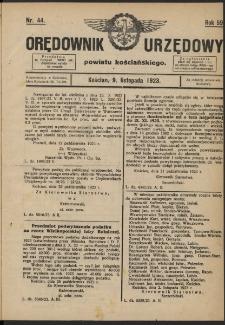 Orędownik Urzędowy Powiatu Kościańskiego 1923.11.09 R.58 Nr 44