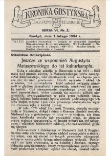 Kronika Gostyńska : jednodniówka regionalna. 1934.02.01 T.6 z.2