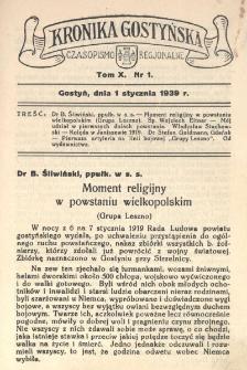 Kronika Gostyńska : jednodniówka regjonalna. 1939.01.01 T.10 z.1