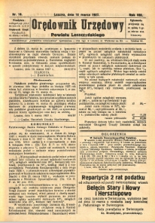 Orędownik Urzędowy Powiatu Leszczyńskiego 1927.03.16 R.8 Nr 18