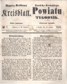 Rawicko-Krobskiego Powiatu Tygodnik. 1851.12.10 R. 1 Nr 7