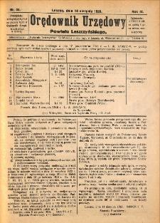 Orędownik Urzędowy Powiatu Leszczyńskiego 1928.08.18 R.9 Nr 34