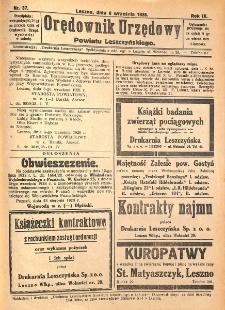 Orędownik Urzędowy Powiatu Leszczyńskiego 1928.09.08 R.9 Nr 37