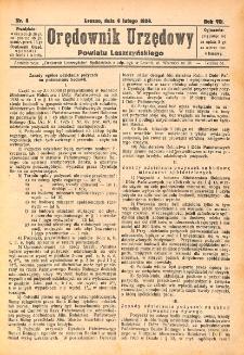 Orędownik Urzędowy Powiatu Leszczyńskiego 1926.02.06 R.7 Nr 8