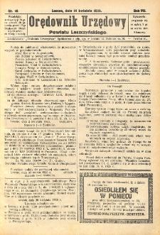 Orędownik Urzędowy Powiatu Leszczyńskiego 1926.04.14 R.7 Nr 18