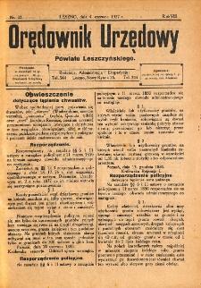 Orędownik Urzędowy Powiatu Leszczyńskiego 1927.06.04 R.8 Nr 33