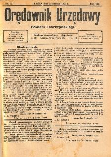 Orędownik Urzędowy Powiatu Leszczyńskiego 1927.08.13 R.8 Nr 43