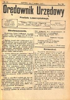 Orędownik Urzędowy Powiatu Leszczyńskiego 1927.09.03 R.8 Nr 46