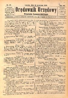Orędownik Urzędowy Powiatu Leszczyńskiego 1926.09.25 R.7 Nr 47