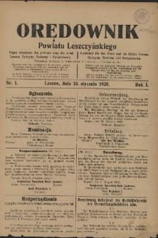 Orędownik Powiatu Leszczyńskiego 1920.01.23 R.1 Nr 1