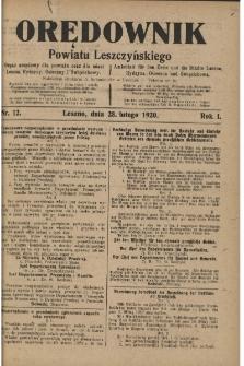Orędownik Powiatu Leszczyńskiego 1920.02.28 R.1 Nr 12