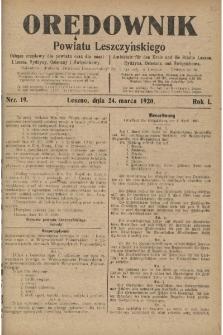 Orędownik Powiatu Leszczyńskiego 1920.03.24 R.1 Nr 19