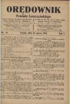 Orędownik Powiatu Leszczyńskiego 1920.03.27 R.1 Nr 20