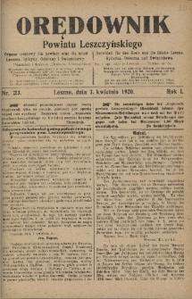 Orędownik Powiatu Leszczyńskiego 1920.04.07 R.1 Nr 23