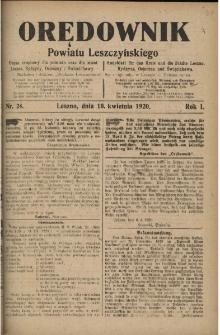 Orędownik Powiatu Leszczyńskiego 1920.04.10 R.1 Nr 24