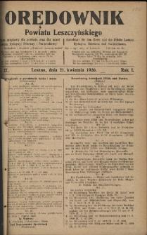 Orędownik Powiatu Leszczyńskiego 1920.04.21 R.1 Nr 27
