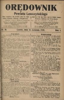 Orędownik Powiatu Leszczyńskiego 1920.04.24 R.1 Nr 28