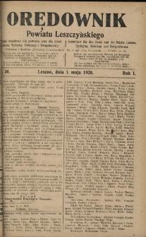 Orędownik Powiatu Leszczyńskiego 1920.05.01 R.1 Nr 30