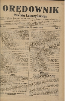 Orędownik Powiatu Leszczyńskiego 1920.05.15 R.1 Nr 34