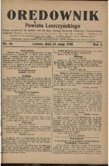 Orędownik Powiatu Leszczyńskiego 1920.05.22 R.1 Nr 36