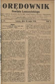 Orędownik Powiatu Leszczyńskiego 1920.05.26 R.1 Nr 37