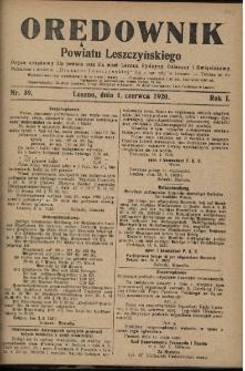 Orędownik Powiatu Leszczyńskiego 1920.06.01 R.1 Nr 39