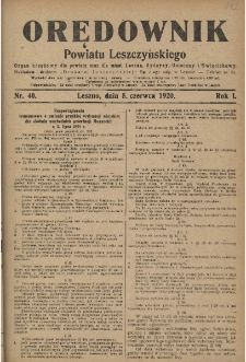 Orędownik Powiatu Leszczyńskiego 1920.06.05 R.1 Nr 40