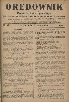 Orędownik Powiatu Leszczyńskiego 1920.06.12 R.1 Nr 42