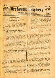 Orędownik Urzędowy Powiatu Leszczyńskiego 1927.03.30 R.8 Nr 22